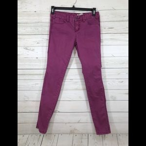 Free People High Waisted Skinny Magenta Jeans